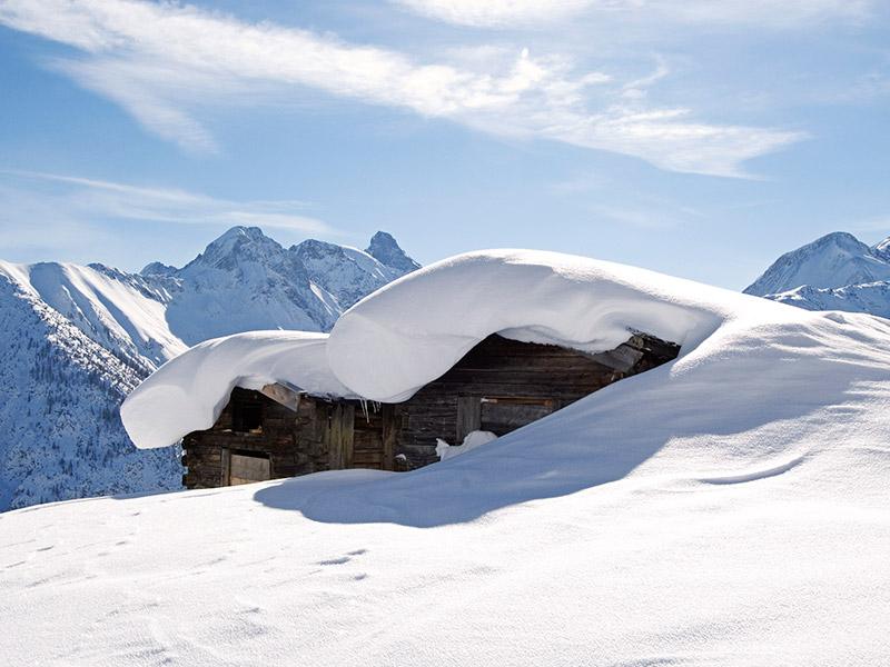 Winter Hütte Schnee
